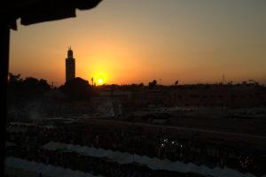Mezquita al atardecer Marrakech